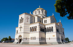 The Vladimir cathedral, the Crimea, Ukraine. The Vladimir cathedral in the old city of Chersonese on territories of Sevastopol, the Crimea, Ukraine stock images