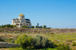 The Vladimir cathedral, the Crimea, Ukraine. The Vladimir cathedral in the old city of Chersonese on territories of Sevastopol, the Crimea, Ukraine stock photo