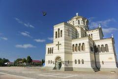 Vladimir Cathedral i Chersonesos - den ortodoxa kyrkan av Moskvapatriarchaten på territoriet av Tauric Chersonesos Fotografering för Bildbyråer