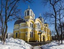 Vladimir Cathedral i vinter Arkivfoton
