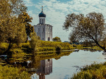 Vladimir. Cathedral of the Intercession on the Nerl stock photo