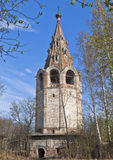 Vladimir crumbling bell tower of the church in Vologda Royalty Free Stock Photography