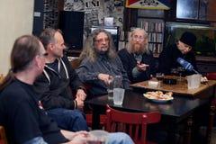 Vladimir Drapal Romek Hanzlik, Jiri Kabes, Vratislav Brabenec, Joe Karafiat, plast- folk för musikmusikband av universumet Arkivfoton