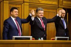 Vladimir Groisman, Petro Poroshenko, Arseniy Yatsenyuk Stock Photo