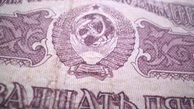 Vladimir Lenin-portret op de oude macro van het de roebelbankbiljet van Rusland, leider van Oktoberrevolutie 1917 stock videobeelden