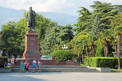 Vladimir Lenin. YALTA, REPUBLIC OF CRIMEA, RUSSIA - AUG 17, 2014: Cityscape, the monument to a Russian communist revolutionary, politician and political theorist royalty free stock photography
