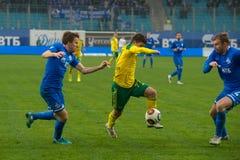 Vladimir Lobkarev (77) no jogo de futebol Imagem de Stock Royalty Free