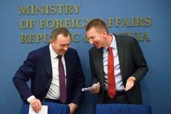 Vladimir Makei, minister Cudzoziemskie sprawy Latvia - sprawy Białoruś i Edgars Rinkevics, minister Cudzoziemski - zdjęcie royalty free