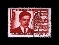 Vladimir Mayakovsky berömd rysspoet, versförfattare, circa 1940, Royaltyfria Foton