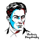 Vladimir Mayakovsky Portrait ilustração royalty free