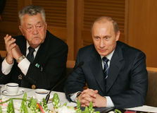Vladimir Putin. President of Russia Vladimir Putin at a meeting with veterans Great Patriotic War royalty free stock photo