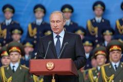 Vladimir Putin avec des yeux fermés Images stock