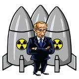 Vladimir Putin Cartoon with Nuclear Missiles. Vector Illustration. August 12, 2017. Vladimir Putin Cartoon with Nuclear Missiles. Vector Illustration Drawing Stock Photos