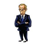 Vladimir Putin Cartoon Portrait av den från den ryska federationen presidenten royaltyfri illustrationer