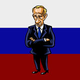 Vladimir Putin Cartoon Portrait of The President of the Russian Federation. With Flag Background Vector Illustration Royalty Free Stock Images