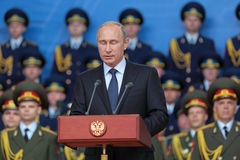 Vladimir Putin com os olhos fechados Imagens de Stock