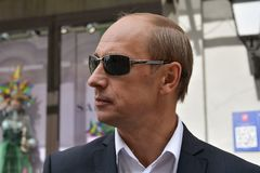 Vladimir Putin. Double, Red Square, Moscow, Russia royalty free stock images