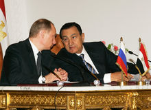 Vladimir Putin en Hosni Mubarak Stock Foto's