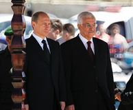 Vladimir Putin and Mahmoud Abbas. The president of Russia Vladimir Putin and the President of of the Palestinian National Authority Mahmoud Abbas royalty free stock photography