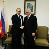 Vladimir Putin and Mahmoud Abbas. The president of Russia Vladimir Putin and the President of the Palestinian National Authority Mahmoud Abbas Stock Photo