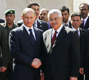 Vladimir Putin and Mahmoud Abbas. The president of Russia Vladimir Putin and the President of the Palestinian National Authority Mahmoud Abbas stock photography