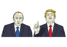 Vladimir Putin met Donald Trump Vector illustratie 9 november, 2017 Stock Fotografie