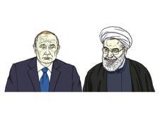 Vladimir Putin met Hassan Rouhani Het Beeldverhaalillustratie van de portretkarikatuur 9 november, 2017 Stock Afbeeldingen
