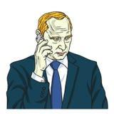 Vladimir Putin op Telefoon De vectorkarikatuur van het Portretbeeldverhaal 14 augustus, 2017 Stock Foto's