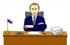 Vladimir Putin president på tabellen, rysk ledare stock illustrationer