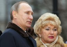 Vladimir Putin President van Rusland en Lyudmila Narusova Stock Afbeeldingen