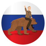 Vladimir Putin riding on a bear wild brown. On the background of the flag of Russia. Illustration for your design. Bear walking on white background. President Stock Photography