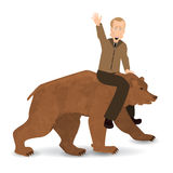 Vladimir Putin riding a bear wild brown. Saddled. Illustration for your design. Bear walking on white background. President of Russia Stock Photos