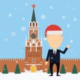 Vladimir Putin Russia in santa hats. Royalty Free Stock Photos