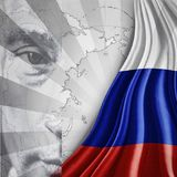 Vladimir Putin Russian President poster with flag overlay. Vladimir Putin Russian President poster with national flag and map of Russia Royalty Free Stock Photography
