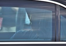Vladimir Putin sitting in his car on 5th June, 2018. Shadow man. Vladimir Putin, President of the Russian Federation on official visit in Vienna, Austria stock images