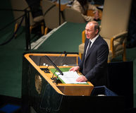 Vladimir Putin sulla settantesima sessione dell'Assemblea generale dell'ONU Fotografie Stock