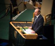 Vladimir Putin sur la soixante-dixième session de l'Assemblée générale de l'ONU Photos stock