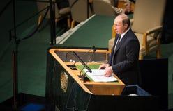 Vladimir Putin sur la soixante-dixième session de l'Assemblée générale de l'ONU Photos libres de droits