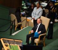Vladimir Putin sur la soixante-dixième session de l'Assemblée générale de l'ONU Photo stock