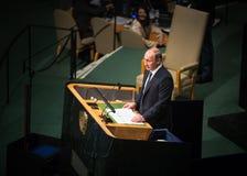 Vladimir Putin sur la soixante-dixième session de l'Assemblée générale de l'ONU Image stock