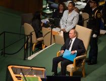Vladimir Putin sur la soixante-dixième session de l'Assemblée générale de l'ONU Photographie stock