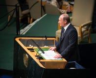 Vladimir Putin sur la soixante-dixième session de l'Assemblée générale de l'ONU Photographie stock libre de droits