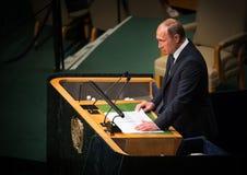 Vladimir Putin sur la soixante-dixième session de l'Assemblée générale de l'ONU Images libres de droits