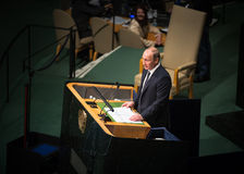 Vladimir Putin on 70th session of the UN General Assembly Stock Image