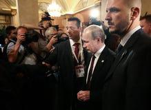 Vladimir Putin tijdens een vergadering over de ASEM-top Royalty-vrije Stock Afbeeldingen