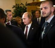 Vladimir Putin tijdens een vergadering over de ASEM-top Royalty-vrije Stock Foto's