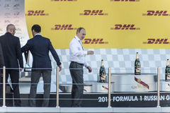 Vladimir Putin went to the podium first Grand Prix of Russia for. Sochi, Russia -12 November 2014 : Formula One, Russian Grand Prix,  Sochi autodrom, 16 stage Royalty Free Stock Photography