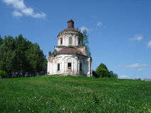 Vladimir region, destroyed church in Russia. Ruinous Orthodox church in R'uminskoe, Vladimir region, Russia. Ruinous temples in Russia Royalty Free Stock Images