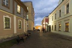 Vladimir Rosja, Listopad, - 05 2015 Historyczny centrum miasta jest Georgiyevskaya ulicą Obraz Royalty Free