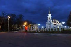 Vladimir Rosja, Listopad, - 05 2015 Widok katedra kwadrat przy nocą Obraz Stock